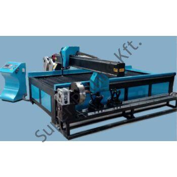 SupR® CNC plazmavágógép 2500x1300, plazmaforrással, csővágó  modullal d200/3000mm