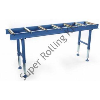 2000 mm-es görgős szállítópálya/Anyagtovábbító asztal 7db görgővel 800kg - 360x2000/650-950mm: