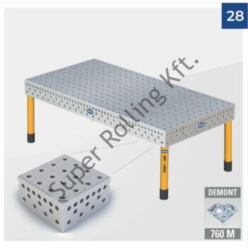 Hegesztőasztal Demmeler System 28 PE100x100, 3000x1500x850 DEMONT 760 M standard lábakkal