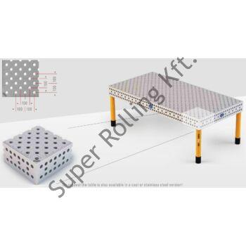 Hegesztőasztal Demmeler System 28 PL100x100 diagonal, 3000x1500x850 DEMONT 760 M standard lábakkal