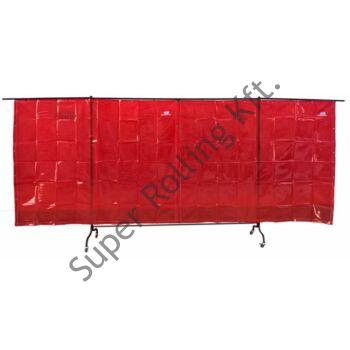 SupR Hegesztő paraván, kinyithatós 2,34x1,74+ ~1-1 m a becsukhatós rész, 2 db fékezhető kerék, 2 db sima forgós, függöny (hajlított kerettel)