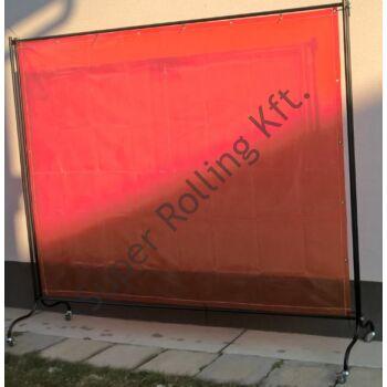 SupR Hegesztő paraván 2,34x1,74, 2 db fékezhető kerék, 2 db sima forgós, függöny (hajlított kerettel)